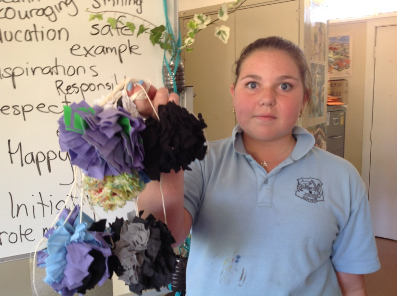 Recycled craft - pom poms from t shirts